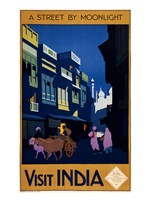 Visit India, a street by moonlight, travel poster 1920 Fine-Art Print