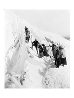 Group of men and women climbing Paradise Glacier in Mt. Rainier National Park, Washington Fine-Art Print