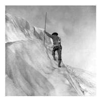 Washington - Mount Rainier Guide cutting steps on ice slope near summit Fine-Art Print