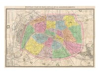 1867 colored Logerot Map of Paris, France Fine-Art Print