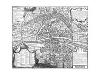 Plan de Paris - black and white map Fine-Art Print
