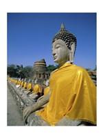Buddha statue at a temple, Wat Yai Chai Mongkol, Ayutthaya, Thailand Fine-Art Print