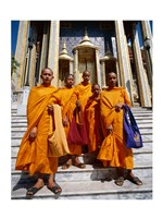 Group of monks, Wat Phra Kaeo Temple of the Emerald Buddha, Bangkok, Thailand Fine-Art Print