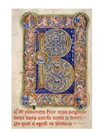Illuminated Manuscript, Psalter. Inhabited Initial B of Psalm 1 Fine-Art Print