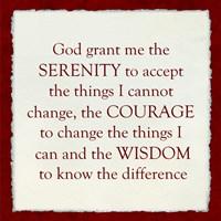Serenity Prayer - red frame Fine-Art Print