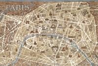 Monuments of Paris Map - Blue Fine-Art Print