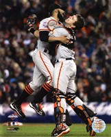 Buster Posey & Sergio Romo Celebrate Winning Game 4 of the 2012 World Series Fine-Art Print