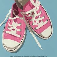 Lowtops (pink on blue) Fine-Art Print