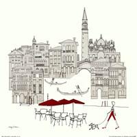 World Cafe IV - Venice Red Fine-Art Print