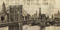 Vintage NY Brooklyn Bridge Skyline Fine-Art Print