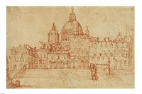 View of Saint Peter's (recto); Study of a Young Man Fine-Art Print