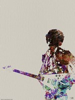 Hendrix with Guitar Watercolor Fine-Art Print