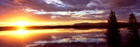 Storm clouds over a lake at sunrise, Jenny Lake, Grand Teton National Park, Wyoming, USA Fine-Art Print