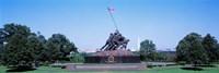 War memorial with Washington Monument in the background, Iwo Jima Memorial, Arlington, Virginia, USA Fine-Art Print