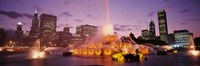 Fountain lit up at dusk in a city, Chicago, Cook County, Illinois, USA Fine-Art Print