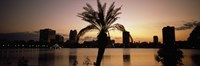 Silhouette of buildings at the waterfront, Lake Eola, Summerlin Park, Orlando, Orange County, Florida, USA Fine-Art Print