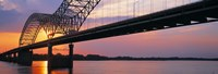 Sunset, Hernandez Desoto Bridge And Mississippi River, Memphis, Tennessee, USA Fine-Art Print