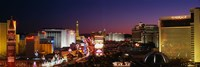 Buildings Lit Up At Night, Las Vegas, Nevada, USA (purple sky) Fine-Art Print
