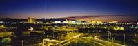 High angle view of buildings lit up at dusk, Las Vegas, Nevada, USA Fine-Art Print