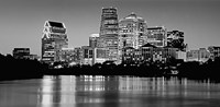USA, Texas, Austin, Panoramic view of a city skyline (Black And White) Fine-Art Print