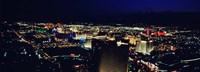 High angle view of a city lit up at night, The Strip, Las Vegas, Nevada, USA Fine-Art Print