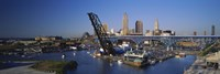 High angle view of boats in a river, Cleveland, Ohio, USA Fine-Art Print