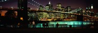 Suspension bridge lit up at dusk, Brooklyn Bridge, East River, Manhattan, New York City, New York State, USA Fine-Art Print