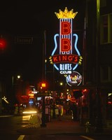 Neon sign lit up at night, B. B. King's Blues Club, Memphis, Shelby County, Tennessee, USA Fine-Art Print