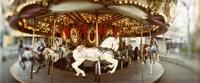 Carousel horses in an amusement park, Seattle Center, Queen Anne Hill, Seattle, Washington State, USA Fine-Art Print