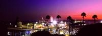 Amusement park lit up at night, Santa Monica Beach, Santa Monica, Los Angeles County, California, USA Fine-Art Print