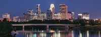 Buildings lit up at night in a city, Minneapolis, Mississippi River, Hennepin County, Minnesota, USA Fine-Art Print