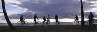 Tourists cycling on the beach, Honolulu, Oahu, Hawaii, USA Fine-Art Print