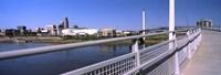 Bridge across a river, Bob Kerrey Pedestrian Bridge, Missouri River, Omaha, Nebraska, USA Fine-Art Print