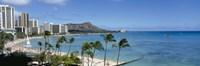 Buildings On The Beach, Waikiki Beach, Honolulu, Oahu, Hawaii, USA Fine-Art Print