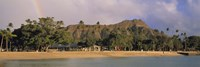 USA, Hawaii, Oahu, Honolulu, Diamond Head St Park, View of a rainbow over a beach resort Fine-Art Print