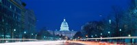 Government building lit up at dusk, Capitol Building, Pennsylvania Avenue, Washington DC, USA Fine-Art Print