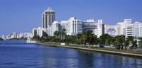 USA, Florida, Miami, Miami Beach, Panoramic view of waterfront and skyline Fine-Art Print