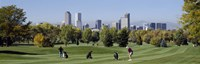 Four people playing golf with buildings in the background, Denver, Colorado, USA Fine-Art Print