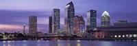 USA, Florida, Tampa, View of an urban skyline at night Fine-Art Print