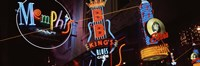 Low angle view of neon signs lit up at night, Beale Street, Memphis, Tennessee, USA Fine-Art Print