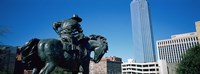 Low Angle View Of A Statue In Front Of Buildings, Dallas, Texas, USA Fine-Art Print