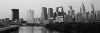 River passing through a city in black and white, Philadelphia, Pennsylvania Fine-Art Print