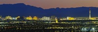 Aerial View Of Buildings Lit Up At Dusk, Las Vegas, Nevada, USA Fine-Art Print
