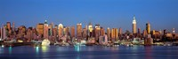 Panoramic View of New York City from the Water at Night Fine-Art Print
