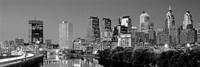 Philadelphia, Pennsylvania Skyline at Night (black and white) Fine-Art Print