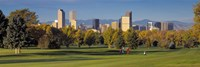 USA, Colorado, Denver, panoramic view of skyscrapers around a golf course Fine-Art Print