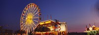 Low Angle View Of A Ferries Wheel Lit Up At Dusk, Erie County Fair And Exposition, Erie County, Hamburg, New York State, USA Fine-Art Print