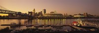 Buildings in a city lit up at dusk, Cincinnati, Ohio, USA Fine-Art Print