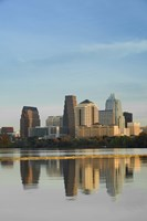 Reflection of buildings in water, Town Lake, Austin, Texas Fine-Art Print