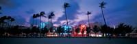 Buildings lit up at dusk, Miami, Florida, USA Fine-Art Print
